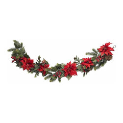 Nearly Natural - Poinsettia and Berry Garland - Bring holiday charm and elegance home. On a banister, entryway or anywhere. Red leaves, lush greenery and pine stems. Construction Material: Polyester material, Iron wire, Plastic, Poly Foam, Pinecone. 12 in. W x 6 in. D x 60 in. H ( 4 lbs. )Decorate with style this holiday season with this elegant Poinsettia Garland. It is sixty inches (that's five full feet) of holiday charm, winding and twisting around your banister, entryway, exposed beams, or anywhere else a bit of holiday festivity is needed. Beautiful red leaves sit on top of lush greenery and pine stems, with faux berries and pinecones completing the holiday touch - cheers!