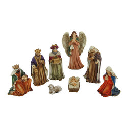 8-Piece Hand Painted Christmas Nativity Set - This cold cast resin nativity set is hand painted, and will look lovely this holiday season on your mantel, table, or shelf. It includes Baby Jesus in manger, Mary, Joseph, the 3 Kings, Guardian Angel, and a sheep. The angel is the largest piece, measuring 7 inches tall by 4 3/4 inches wide. The kings measure 6 1/2 X 3 1/2 inches, 6 1/4 X 3 1/2 inches, and 5 X 3 1/2 inches. Joseph measures 6 1/2 X 3 inches, Mary measures 4 1/2 X 3 inches, and Baby Jesus measures 2 inches tall by 3 inches long.