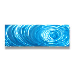 Miles Shay - Metal Art Wall Art Decor Abstract Contemporary Modern- Small Blue Ripple - This Abstract Metal Wall Art & Sculpture captures the interplay of the highlights and shadows and creates a new three dimensional sense of movement as your view it from different angles.