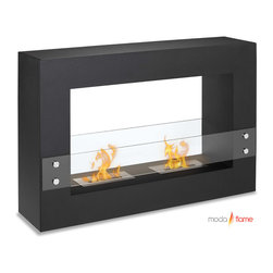 Moda Flame - Moda Flame Alcoi Contemporary  Indoor Outdoor Ethanol Fireplace in Black - Designed with a sleek steel powder coated rectangular frame, the Alcoi free standing ethanol contemporary fireplace asserts a bold look with dual burner and tempered glass sheets on either side. The Alcoi allows for an exquisite display of multiple dancing flames.