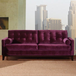 "Armen Living - Centennial Sofa Purple Velvet - The Centennial sofa, like the other 2 pieces in the group, is a purple velvet covered, button back transitional design, with a sleek low back look that adds a contemporay flare.; Sofa from the Centennial collection; Made with purple velvet; Part of a three piece set, along with chair and loveseat; Comes with standard 1 year limited warranty; Dimensions: 34""H x 84""W x 36""D"