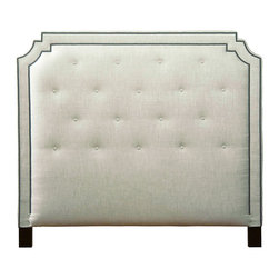 Belle Meade - Belle Meade Miller Headboard - Captivating contemporary style defines Belle Meade Signature's Miller headboard. Metallic nailhead trim and exposed wood legs pop against the furnishings plush button-tufted upholstery. Available in queen, king and cal-king sizes; Olde English walnut; Available in several fabric options; Handcrafted nailhead trim; Built in the USA; Assembly required