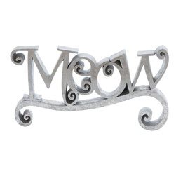Benzara - Meow Elegant Finish with Silver Color and Easily Movable - Enhance your interiors with an impeccable and unique MEOW' crafted art piece that is a reflection of attitude, style and your love for cats. Offering greater presence in a shiny silver finish, this wall decor catches your attention immediately. Place it in your conventional interior setup or blend it with your modern home, you're sure to win accolades for your choice. You can carry it along anywhere with utmost ease, thanks to its portable size that allows easy mobility. Keep it on your living room center table or add it to your garden decor in the evening for a bright contrast, this MEOW' piece will give a charming and graceful effect to the ambience. It is built with tough polystone material to provide extra long life, durability and retention of its incredible looks.