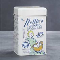 Nellie's™ All-Natural Laundry Soda - Expertly designed to care for your finest clothing, Nellie's™ All-Natural Laundry Soda is hypoallergenic—perfect for baby clothes and sensitive skin. Unscented soda cleans all the way to the fiber, rinses thoroughly and leaves no residue. Biodegradable, non-toxic, mild yet highly efficient, this earth-friendly soda also economizes with every wash, as the super-concentrated formula requires only one tablespoon per large load. Vintage-inspired packaging adds retro charm to your laundry room.