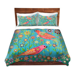 DiaNoche Designs - Duvet Cover Microfiber - Bohemian Birds - Super lightweight and extremely soft Premium Microfiber Duvet Cover in sizes Twin, Queen, King.  This duvet is designed to wash upon arrival for maximum softness.   Each duvet starts by looming the fabric and cutting to the size ordered.  The Image is printed and your Duvet Cover is meticulously sewn together with ties in each corner and a hidden zip closure.  All in the USA!!  Poly top with a Cotton Poly underside.  Dye Sublimation printing permanently adheres the ink to the material for long life and durability. Printed top, cream colored bottom, Machine Washable, Product may vary slightly from image.