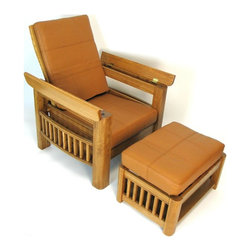 Wayborn - Copenhagen Chair & Ottoman Set w Cushion in B - Set includes chair and ottoman. Storage space underneath the arm rests. Made from Birchwood with leather cushions. Smooth finish. Assembly required. Chair: 33.5 in. W x 32.5 in. D x 48 in. H (75 lbs.). Ottoman: 27.5 in. L x 19.5 in. W x 17 in. H (45 lbs.)This set captures the comfort of a recliner with the stability of a fixed arm chair with hidden storage. Storage space is underneath each arm rests that can hold remote controls, while the bottom space can hold magazines, books or other small items. Light brown leather cushions are for both the armchair and ottoman.