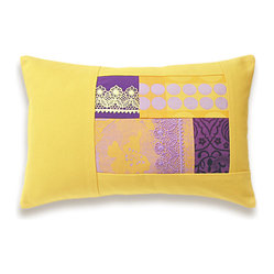 Yellow Lavender Purple Lumbar Pillow Case 12 x 18 in IRMA DESIGN -