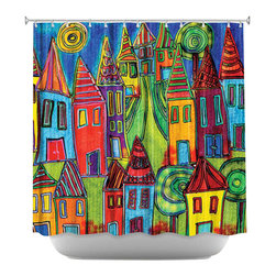 DiaNoche Designs - Shower Curtain Artistic - Up the Hill - DiaNoche Designs works with artists from around the world to bring unique, artistic products to decorate all aspects of your home.  Our designer Shower Curtains will be the talk of every guest to visit your bathroom!  Our Shower Curtains have Sewn reinforced holes for curtain rings, Shower Curtain Rings Not Included.  Dye Sublimation printing adheres the ink to the material for long life and durability. Machine Wash upon arrival for maximum softness. Made in USA.  Shower Curtain Rings Not Included.