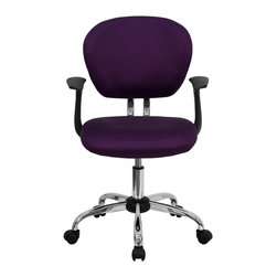 Flash Furniture - Flash Furniture Office Chairs Mesh Task Chairs X-GG-SMRA-RUP-F-6732-H - This value priced mesh task chair will accommodate your essential needs for your home or office space. This chair will add a splash of color to your office for a non-traditional look. Chair features a breathable mesh material with a comfortably padded seat. [H-2376-F-PUR-ARMS-GG]
