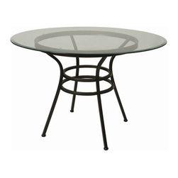 """Pastel Furniture - Pastel Furniture Westport 30 Inch Round Table w/ Glass Top in Brown - This Traditional Westport dining table with 45"""" round glass with an intricate iron base design. This beautifully made table will add style and beauty to your dining area."""