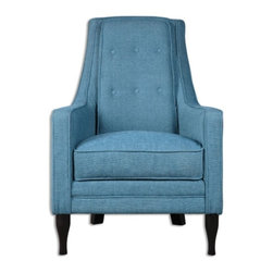 """Uttermost - Uttermost Katana Armchair, Peacock Blue - Peacock blue accent chair with ebony-stained, curvy legs, welted track arms, loose box cushion seat, and tall, supportive, button-tufted back. Seat height is 20""""."""