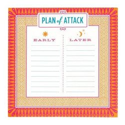 Jonathan Adler - Jonathan Adler Sticky Note Pad, Attack - Our jumbo Jonathan Adler sticky notes may just save your life. Youll never miss another appointment because of its loud patterns and unavoidable size, and they have even included a few essential boxes to tick at the bottom.