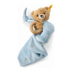 Steiff - Steiff Sleep Well Teddy Bear Blue 3 in 1 - Steiff Baby Sleep Well Bear Blue 3 in 1 is made of plush for baby soft skin. Steiff Baby Sleep Well Bear Blue 3 in 1 includes a teddy bear, wooden ring, and small blanket/lovey. Steiff Baby Sleep Well Bear Blue 3 in 1 features a rattle. Machine washable without the wooden ring.