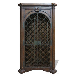 Rachelle Wine Cabinet, Fresco Brown Distressed with Scrolls - Rachelle Wine Cabinet, Fresco Brown Distressed with Scrolls