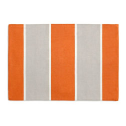 Awning Stripe Custom Placemat Set, Orange and Gray - Is your table looking sad and lonely? Give it a boost with at set of Simple Placemats. Customizable in hundreds of fabrics, you're sure to find the perfect set for daily dining or that fancy shindig. We love it in this wide outdoor awning stripe in bright orange & gray. As perfect inside as poolside.
