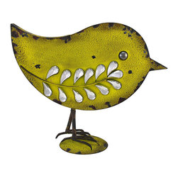 Zeckos - Vintage Look Yellow Metal Bird Statue with Faceted Stones - Add a retro accent to your home or boutique window with this yellow bird statue. Made of metal, it measures 11 1/4 inches tall, 13 1/2 inches long, 4 3/4 inches wide, and has a wonderful distressed finish that makes it look antique. The statue is accented by faceted clear stones, and is sure to be admired. It is an excellent addition to Spring and Easter displays.