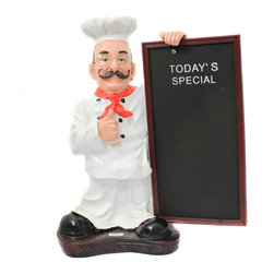 """ecWorld - Casa Cortes 25"""" French Chef Figurine with Menu Board Kitchen Decor - This handcrafted chef figurine is perfect for any chef-inspired, bistro-style, or French-themed kitchen. Dressed in traditional whites, he adds a dash of personality to any kitchen decor and you can write any message or menu of the day on the board - you'll love it!"""