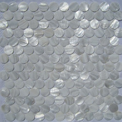 "White Mother of Pearl 1"" Circles Tile - Mother of pearl tiles add new and unique elegance to your bathroom, backsplash, headboard, and more. Our Mother of Pearl tiles are handmade from genuine natural freshwater pearls. Although Mother of Pearl tiles are naturally thin, they are very strong and durable as well as easy to install in kitchens, bathrooms, and pools."
