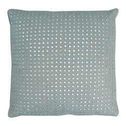 Embroidered Mirrors Pillow - Ice/Taupe - In a playful nautical room, the silvery mirrors sewn to the Embroidered Mirrors Pillow in Ice might be rising bubbles; in a transitional setting, they might be the glitter of gem studs; and in a more traditional room, they are simply a classic global design motif in a solid seafoam field. This square teal accent cushion flashes small points of light in an even grid where they wink from within the rich embroidery. Add it to your home for instant opulence.