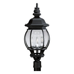 Progress Lighting - Progress Lighting P5401-31 Onion Lantern Four-Light Post Lantern Textured Black - Four light post lantern with clear beveled glass