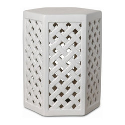 """The Ivory Company - Hexagon Trellis  Garden Stool - The trellis cutwork design creates clean and simple lines on our garden stool, giving it modern appeal. Sturdy ceramic construction makes it suitable for indoor or outdoor seating, or as a side table. White with a high-gloss finish.These traditional inspired designs of an oriental staple make for handsome and distinctive accent pieces for the home. Enjoy these in and out of the house - in a formal living area, garden or in a vestibule. The sturdy functionality is only second to the aesthetic appeal of their timeless shape and style. Each Garden Stool design has been carefully hand-picked for its distinctive styling and its overall aesthetics.This is guaranteed to add beauty, style and add some practical functionality to any area of your home. Measures 14x18""""H"""