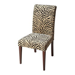 Butler Furniture - Parsons Chair Zebra Print Fabric - Crafted from poplar solids and upholstered in a Beige Diamond fabric featuring a durable cotton/Dacron blend, this chair exudes style and comfort style with the bold fabric statement, the shapely silhouette and the tapered legs; comfort with the deep seat and high back. Designed to be a bright spot in virtually any decor.