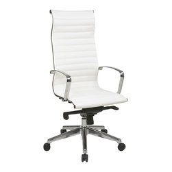 IFN Modern - Eames Inspired High Back Chair with Head Rest in White - Overall Dimension - 27.75W x 24.75D x 50.75HWeight - 49lbs