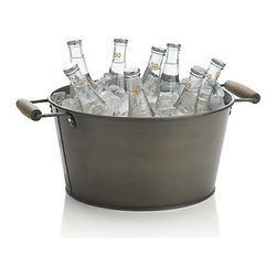 Shindig Beverage Tub - Grab-and-go beverages make entertaining simple and keep guests happy. This great tub would be stocked with sodas and beers on my patio. I'm really loving the iron and wood design.