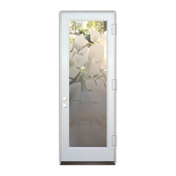 Sans Soucie Art Glass (door frame material Plastpro) - Glass Front Entry Door Sans Soucie Art Glass Banana Leaves 2D - Sans Soucie Art Glass Front Door with Sandblast Etched Glass Design. Get the privacy you need without blocking light, thru beautiful works of etched glass art by Sans Soucie!This glass is semi-private. Door material will be unfinished, ready for paint or stain.Bronze Sill, Sweep.Satin Nickel Hinges. Available in other finishes, sizes, swing directions and door materials.Dual Pane Tempered Safety Glass.Cleaning is the same as regular clear glass. Use glass cleaner and a soft cloth.