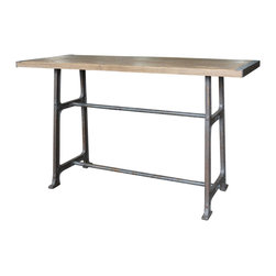 Marco Polo Imports - Oliver Bleached Oak Pub Table - Classic pub table skillfully crafted from quality oak with a distressed iron base and a bleached oak finish.