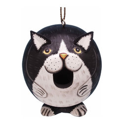 Songbird Essentials - Black and White Cat Gord-O Birdhouse - Songbird Essentials adds color and whimsy to any garden with our beautifully detailed wooden birdhouses that come ready to hang under the canopy of your trees. Hand-carved from albesia wood, a renewable resource, each birdhouse is hand painted with non-toxic paints and coated with polyurethane to protect them from the elements. By using all natural and nontoxic components Songbird Essentials has created a safe environment complete with clean-out for our feathered friends.