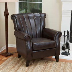 Christopher Knight Home - Christopher Knight Home Clifford Channel Tufted Brown Leather Club Chair - This tufted leather chair adds a sleek and sophisticated accent to any room. The sturdy wood construction features espresso-stained legs and bonded leather upholstery with channel tufting. Padded arms,back and seat add inviting comfort.