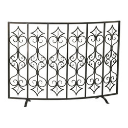 Cyan Design - Cyan Design Casablanca Fire Screen X-70040 - Intricate, European inspired scrolls and other details create an upscale yet medieval appeal to this Cyan Design fire screen. From the Casablanca Collection, this traditional fire screen pairs its decorative details with durable iron construction throughout, along with a Canyon Bronze finish.