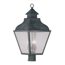 Livex Lighting - Livex Lighting 2455 Vernon Post Light - Livex Lighting 2455 Vernon Three Light Outdoor Post LightDesigned to resemble the classic outlines of a kerosene lamp, the Vernon three light post light features a beautiful curved roof with a chimney style decoration topped by a ringed finial. The four large seeded glass panes will create a timeless rustic atmosphere for any home.Livex Lighting 2455 Features: