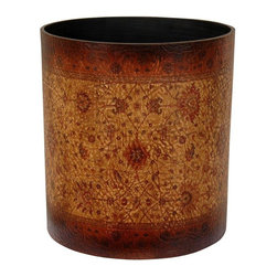 Oriental Furniture - Olde-Worlde Baroque Waste Basket - A beautifully decorated trash cans offered with a lovely, subtly textured, faux leather finish. The faux leather is printed with an elegant European decorative design, that helps turn a simple, practical accessory into an attractive home decor accent. In some of the nicest homes in America, you can find a comparatively unattractive plastic or metal waste paper basket. This beautiful decorative waste bin upgrades the decor of any room just a little, and may be one of the nicer, more thoughtful gifts someone receives this year.
