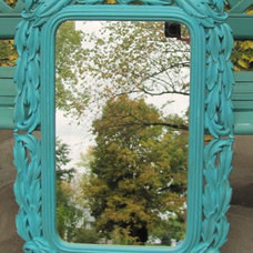 Eclectic  Turquoise vintage wall mirror