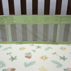 NoJo Jungle Babies Secure-Me Mesh Crib Liner - The easy-to-install NoJo Jungle Babies Secure-Me Mesh Crib Liner gives parents peace-of-mind knowing that baby is safe and sound in their bed. This four-piece crib liner - with two long sides and two short sides is made of a cotton/polyester blend and coordinates with the NoJo Jungle Babies collection.About NoJoOffering fashionable, safe, and reliable products throughout the United States for the past 40 years, NoJo's goal is to offer fashion-forward infant and toddler bedding, blankets, and accessories that meet the demands of today's modern lifestyle. NoJo puts not only style into their products, but comfort and safety, too.