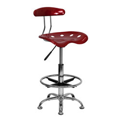 Flash Furniture - Vibrant Wine Red and Chrome Drafting Stool with Tractor Seat - Quality chair at an amazingly affordable price! This sleek, modern stool conforms to several areas in the home or office. The molded tractor seat offers great comfort. The height adjustable capability of this stool allows you to use the stool at the dining table and bar table and anywhere in between.