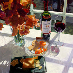 Trisha Selgrath Fine Art - The Art of Snacking, LE Giclee on Canvas - Using flowers from her garden, the artist crafted a deliciously interesting composition including award-winning red wine, cheese, and clementine. Details abound from the delicate glass plate to the reflected wine bottle in the window. Patterns and textures are meticulously recreated by the artist with a brush and oil paint.