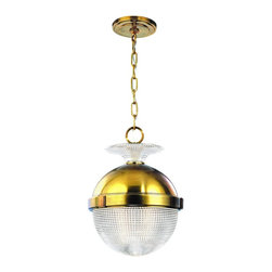 """Hudson Valley - Hudson Valley Winfield 12"""" Wide Aged Brass Pendant Light - Add a new look to your kitchen or dining area with this charming and distinctive glass and aged brass pendant light. The orb shape light consists of a metal upper half in glistening aged brass finish. The lower section is a clear textured cross hatch prismatic glass shade. A prismatic glass accent sits atop the metal just below the hanging ring that attaches the chain to the brass finish ceiling canopy. Hang two or three pendants together for a sophisticated look. A beautiful transitional design from Hudson Valley Lighting. Aged brass finish metal. Clear prismatic glass. Takes one 100 watt bulb (not included). 16"""" high. 12"""" wide. Glass shade is 11"""" wide and 6"""" high. Canopy is 5 1/2"""" wide.  Aged brass finish metal.   Clear prismatic glass.   Takes one 100 watt bulb (not included).   16"""" high.   12"""" wide.   Glass shade is 11"""" wide and 6"""" high.   Canopy is 5 1/2"""" wide."""