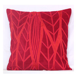 Vintage Maya - Spring Laurel Embroidered Red Pillow Cover - Pretty in pink. This terrific textured pillow cover is a great way to add a bold splash of color to your sofa or bed.