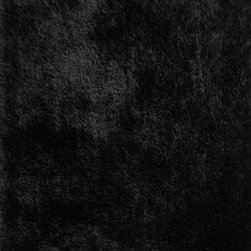 Rug - ~8 ft. x 11 ft. Solid Hand-Tufted Black Shaggy Living Room Area Rug - Living Room Hand-tufted Shaggy Area Rug