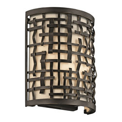 Kichler Lighting - Kichler Lighting Loom Transitional Wall Sconce X-ZO05034 - This 1 light wall sconce from the Loom collection features a basket weave frame and textured intertwined Olde Bronze details with a white fabric shade and satin-etched glass diffuser. It combines the classic lines of mission with the casual look of lodge and rustic styles in one.