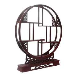 Golden Lotus - Chinese Red Brown Wood Round Small Curio Display Easel - This is an oriental small table top curio display stand / easel with reddish brown stain.