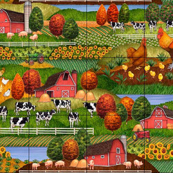 The Tile Mural Store (USA) - Tile Mural - Farm Scene 2  - Kitchen Backsplash Ideas - This beautiful artwork by Dan Morris has been digitally reproduced for tiles and depicts a farm scene.  This tile mural with images of farm animals on tiles would be perfect as a part of your kitchen backsplash tile project. Farm animal tiles with pigs on tiles and images of cows on tile make an impressive kitchen backsplash idea. Rooster tile murals and pictures of roosters on tiles is timeless and will never go out of style.