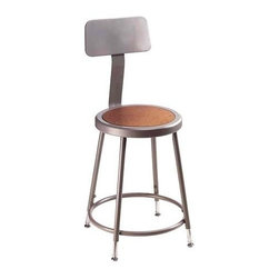 National Public Seating - Science Lab Adjustable Stool w Backrest - Adjust these stools to meet ergonomic and height needs.  Hardboard seat is framed with steel and includes a comfort foot ring.  Versatile design with protective finish that is rugged and long lasting is great for a utility setting or contemporary location.  Provide your employees or students with a little extra support that comes in the form of an adjustable back on this rugged twenty-four inch seat height stool that comes in a heavy duty steel and masonite composition.  The stool offers a round Masonite seat, is constructed of sturdy, powder-coated steel and features a contoured adjustable back rest. * 16 rivets on seat to prevent warping. 0.63 in. O.D. foot rings welded to each leg by four contact points at each leg for added rigidity. Adjustable with vinyl padded backrest. Adjusts up or down and forward or back. Steel contains 30-40% of post-consumer waste (recycled). Meets ANSI and BIFMA standards. Warranty: Five years for material. Made from 0.88 in. O.D. 18-gauge steel tubing. Seat height: 25 - 33 in.. Backrest: 12 in. W x 6 in. H. Overall: 15 - 19 in. W x 38 - 47.5 in. H (18 lbs.). Assembly Instruction