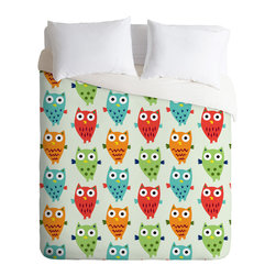 DENY Designs - Andi Bird Owl Fun Duvet Cover - Turn your basic, boring down comforter into the super stylish focal point of your bedroom. Our Luxe Duvet is made from a heavy-weight luxurious woven polyester with a 50% cotton/50% polyester cream bottom. It also includes a hidden zipper with interior corner ties to secure your comforter. it's comfy, fade-resistant, and custom printed for each and every customer.