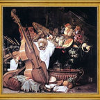 "Cornelis De Heem-16""x16"" Framed Canvas - 16"" x 16"" Cornelis De Heem Vanitas Still-Life with Musical Instruments framed premium canvas print reproduced to meet museum quality standards. Our museum quality canvas prints are produced using high-precision print technology for a more accurate reproduction printed on high quality canvas with fade-resistant, archival inks. Our progressive business model allows us to offer works of art to you at the best wholesale pricing, significantly less than art gallery prices, affordable to all. This artwork is hand stretched onto wooden stretcher bars, then mounted into our 3"" wide gold finish frame with black panel by one of our expert framers. Our framed canvas print comes with hardware, ready to hang on your wall.  We present a comprehensive collection of exceptional canvas art reproductions by Cornelis De Heem."