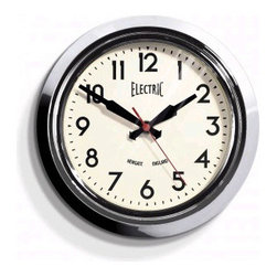 """Newgate - Small Electric Wall Clock - Chrome 8"""" - Metal case in gloss Black, red or chrome plate finish, glass lens, clean modern dial, battery operated."""