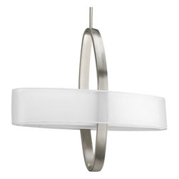 Progress Lighting - Progress Lighting P5058 Cuddle Four-Light Linear Pendant - Unique pendant featuring an oval shaped shade intersecting with an oval shaped support arm.Features: